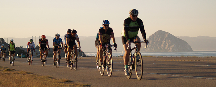 Riders leaving Morro Bay in the morning during the Ligthhouse Century
